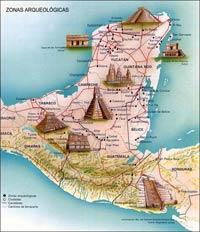 نقشه ای از محل زندگی اقوام مایا